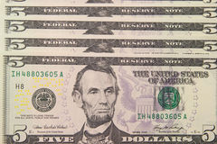 Background With Money US 5 Dollar Bills Royalty Free Stock Photography