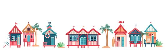 Background With Multi-colored Beach Huts Stock Photography