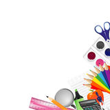 Background With School Supplies Stock Photo