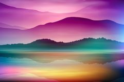 Free Background With Sea And Mountain. Sunset Time. Stock Image - 117259411