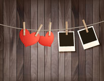 Free Background With Two Hearts And Two Photos. Valentines Day Royalty Free Stock Photography - 49234287
