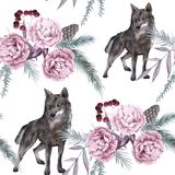 Background with a wolf and Siberian plants. Seamless pattern. Watercolor illustration stock photos