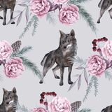 Background with a wolf and Siberian plants. Seamless pattern. vector illustration