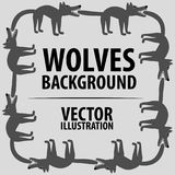 Background with wolves. Cartoon flat characters. Vector Image. Royalty Free Stock Images