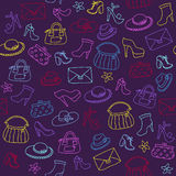 Background of women accessories. Seamless Vector pattern. Royalty Free Stock Photos