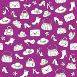 Background of women accessories. Seamless Vector pattern. Royalty Free Stock Image