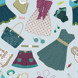 Background with women's dresses and accessories Stock Photo