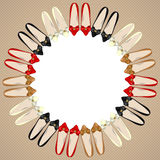 Background with women's shoes. Background with colored women's shoes and place for text in center Stock Photo