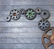 Background Wood Cogs Stock Image