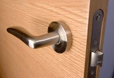 Background wood door lock house Stock Images