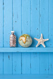 Background Wood Globe Starfish Royalty Free Stock Photos
