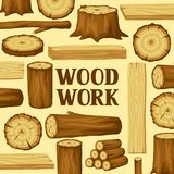 Background with wood logs, trunks and planks. Design for forestry and lumber industry Royalty Free Stock Photo