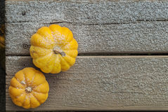 Background of Wood and Pumpkins Stock Photo