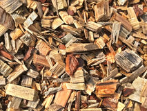 Background of wood shavings and wooden splinters Stock Photo