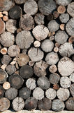 Background of wooden architecture: an old log wall. Stock Images