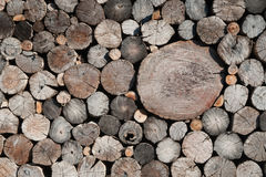 Background of wooden architecture: an old log wall. Royalty Free Stock Images