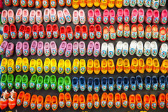 Background of wooden clogs in Amsterdam Royalty Free Stock Photos