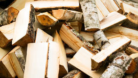 Background of wooden cut firewood Royalty Free Stock Images