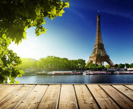 Background with wooden deck table and  Eiffel tower Royalty Free Stock Images