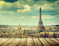 Background with wooden deck table and Eiffel tower in Paris. Europa royalty free stock photos