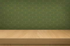 Background with wooden  deck table over vintage wallpaper with p Stock Images