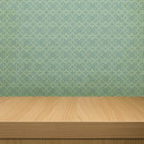 Background with wooden  deck table over vintage wallpaper  with Royalty Free Stock Photos