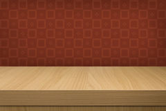 Background with wooden deck table over vintage  wallpaper Royalty Free Stock Photography
