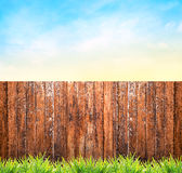 Background with wooden fence , grass and blue sky. Sommer garden Stock Images