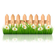 Background with a wooden fence with grass, flowers Royalty Free Stock Image
