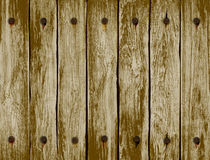 Background wooden fence with old nails. vector illustration Stock Image