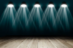 Background with wooden floor and spotlights Stock Photos
