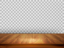 Background with wooden floor and a transparent back wall. Stock Photo