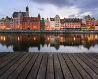 Background with wooden floors and characteristic buildings of gd. Ańsk, Poland Stock Images