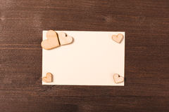 Background with wooden hearts. Place for text Stock Image