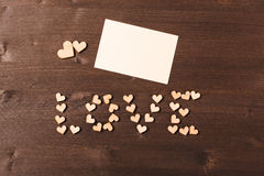 Background with wooden hearts. Place for text Stock Photo