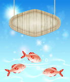 Background with wooden label and fish Royalty Free Stock Images