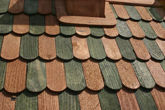Background: wooden ledges, laths of green and brawn color 1 Royalty Free Stock Photography