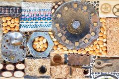 Background from wooden and mechanical objects Royalty Free Stock Image