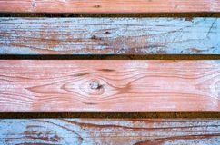 Background of wooden planks with peeling blue paint. Royalty Free Stock Photography