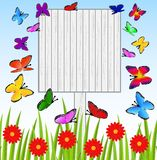 Background  with a wooden table, butterflies and red flowers Stock Images