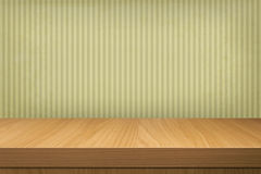 Background with wooden table and old wallpaper  stripes Stock Photography