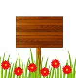 Background  with a wooden table and red flowers Stock Photo