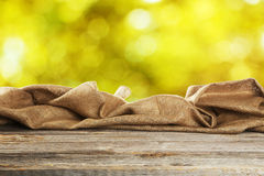 Background with wooden table with the sack Royalty Free Stock Photography