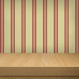 Background with wooden table and wallpaper stripes and zigzags Stock Photos