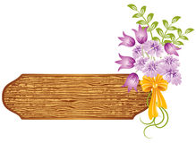 Background with wooden texture and flowers Royalty Free Stock Photos