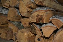 Woodpale from choped logs. Background of woodpale. Texture of crafted logs Royalty Free Stock Image