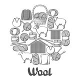 Background with wool items. Goods for hand made, knitting or tailor shop.  Stock Photos
