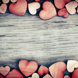 Background with woooden hearts Stock Photos
