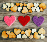 Background with woooden hearts Royalty Free Stock Photos