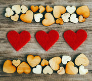 Background with woooden hearts Royalty Free Stock Image